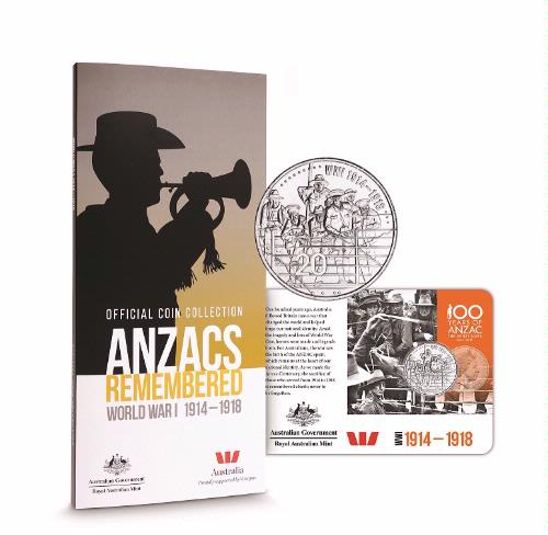 Thumbnail for 2015 Official Coin Collection - Anzacs Remembered WW1 1914-1918 (No Poppy Dollar)