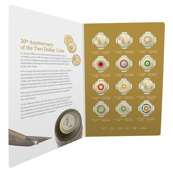 Thumbnail for 2018 30th Anniversary of the $2.00 Coin - 12 Coin Uncirculated Set