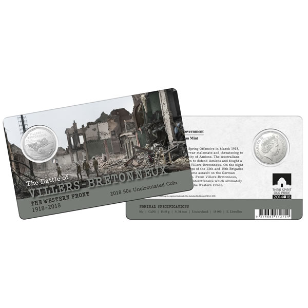Thumbnail for 2018 The Western Front Fifty Cent Coin - The Battle of Villers-Bretonneux