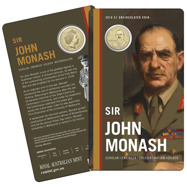 Thumbnail for 2018 Sir John Monash Uncirculated Dollar