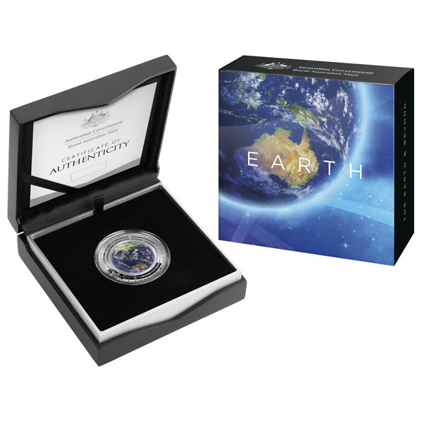 Thumbnail for 2018 The Earth & Beyond $5 Coloured Silver Proof Domed Coin - Earth