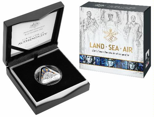 Thumbnail for 2018 Land - Sea - Air $5.00 Coloured Silver Proof Triangular Coin