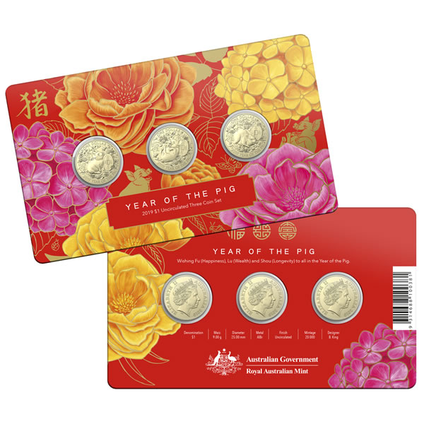 Thumbnail for 2019 Lunar Year of the Pig - 3 Coin Set