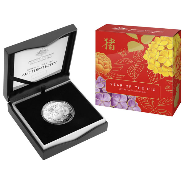 Thumbnail for 2019 Five Dollar Fine Silver Proof Coin - Lunar Year of the Pig