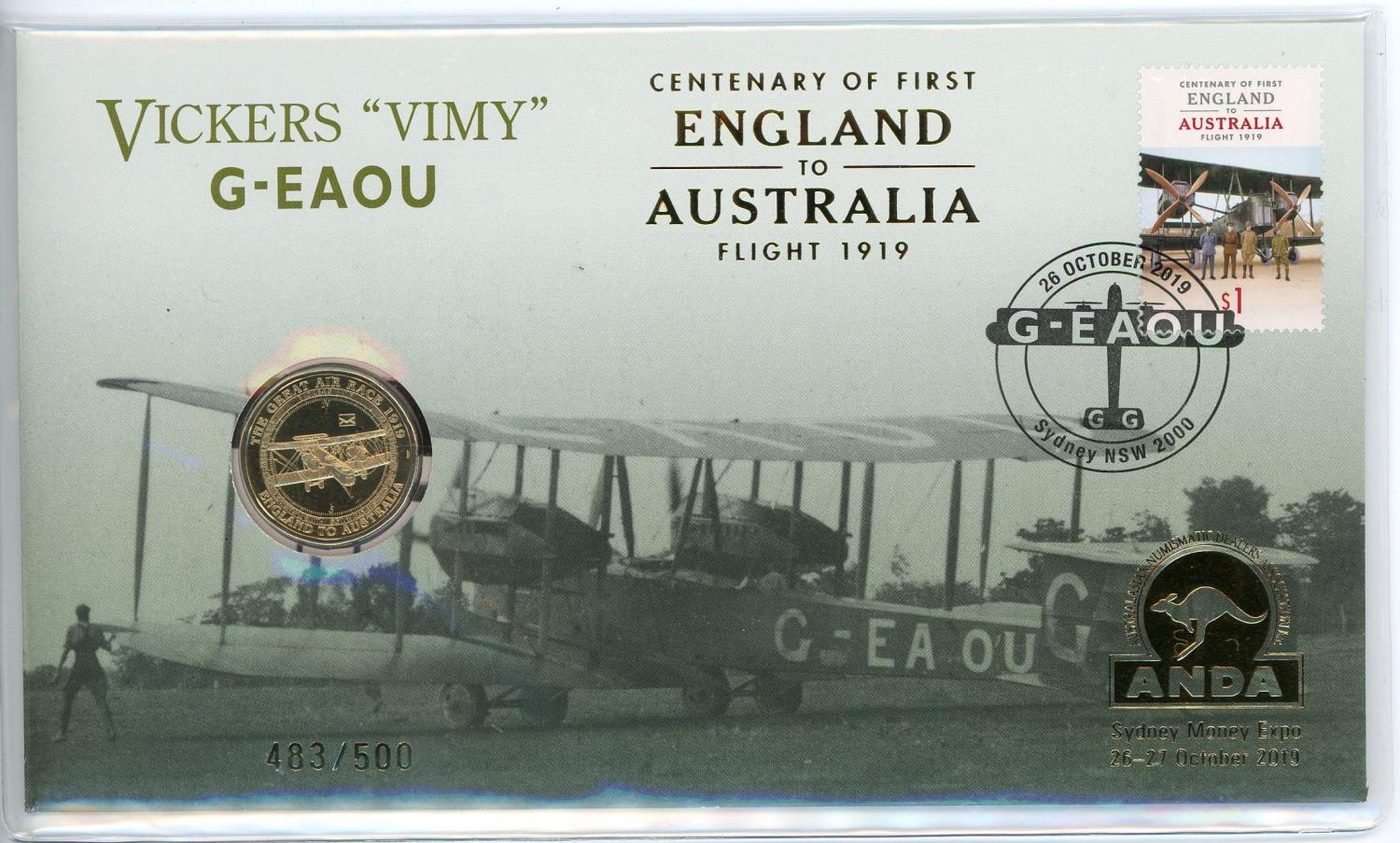 Thumbnail for 2019 Centenary of First Flight England to Aust Flight 1919 Vickers 'Vimy' G-EAOU Sydney Money Expo ANDA PNC With Envelope Privy