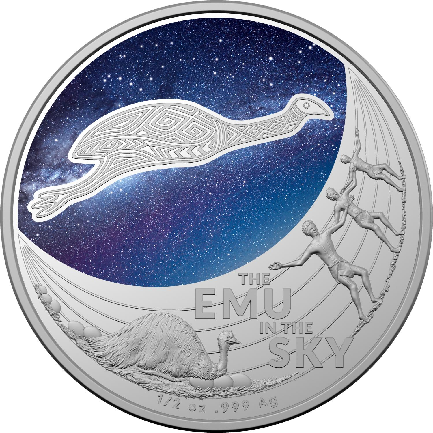 Thumbnail for 2020 $1 Star Dreaming - Emu in The Sky  Coloured Half oz Fine Silver UNC Coin