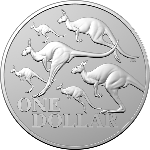 Thumbnail for 2020 $1 Kangaroo Series - Bounding Red Kangaroos 1oz Silver Frosted UNC Coin in Capsule