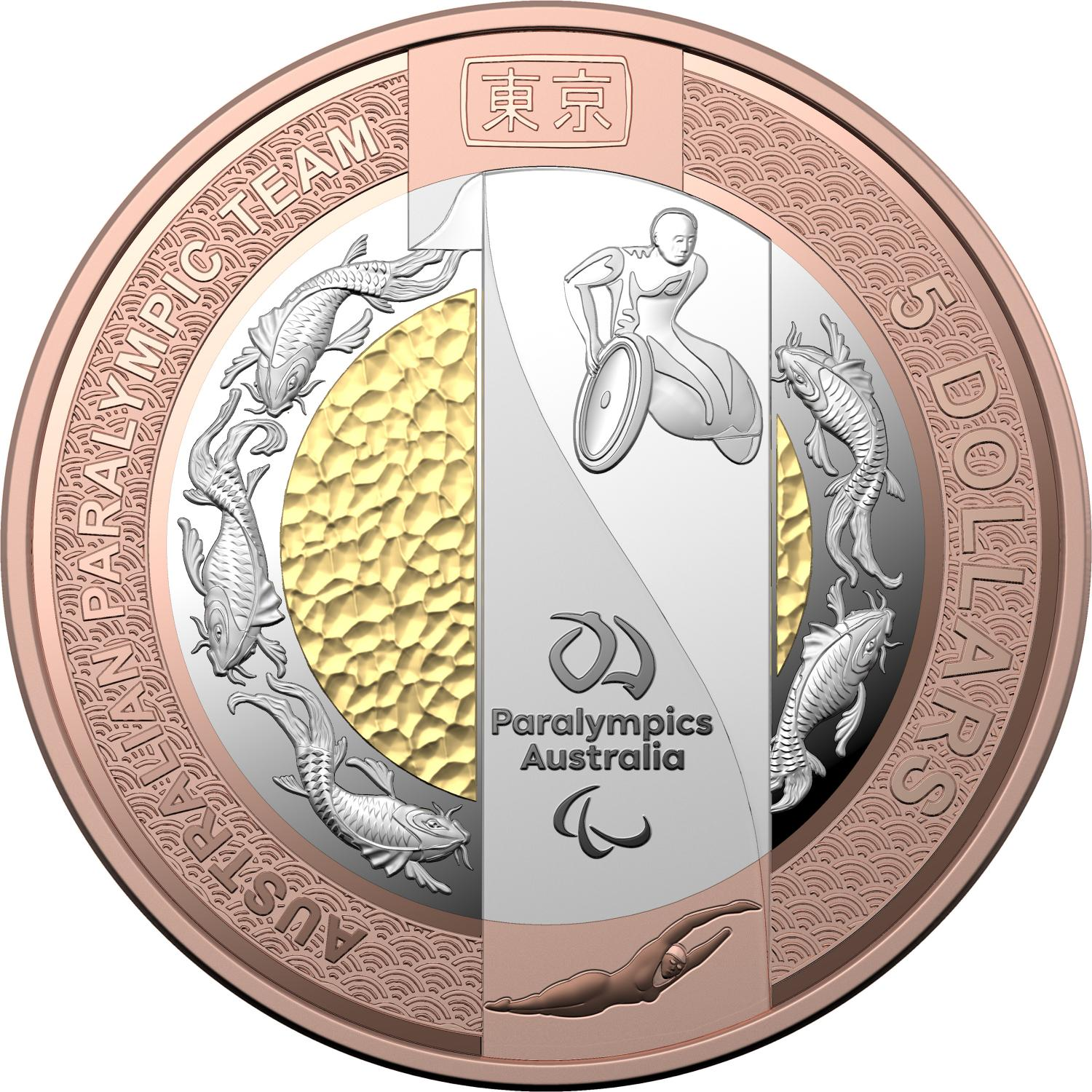 Thumbnail for 2020 $5  Australian Paralympic Team Bi-Metallic Silver.Copper.Selectively Gold Plated Proof Coin