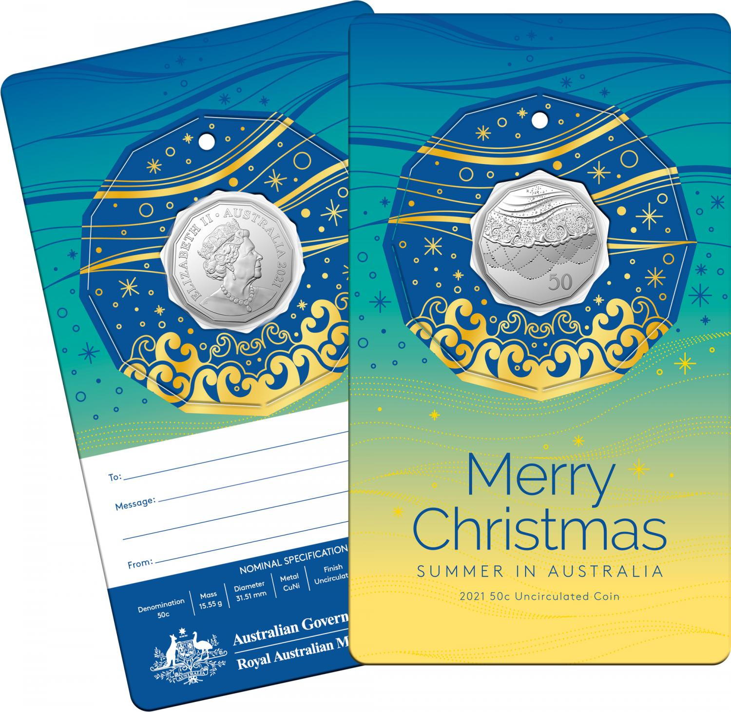 Thumbnail for 2021 .50¢ Christmas Decoration CuNi UNC Coin on Gold Accented Card (Single card)