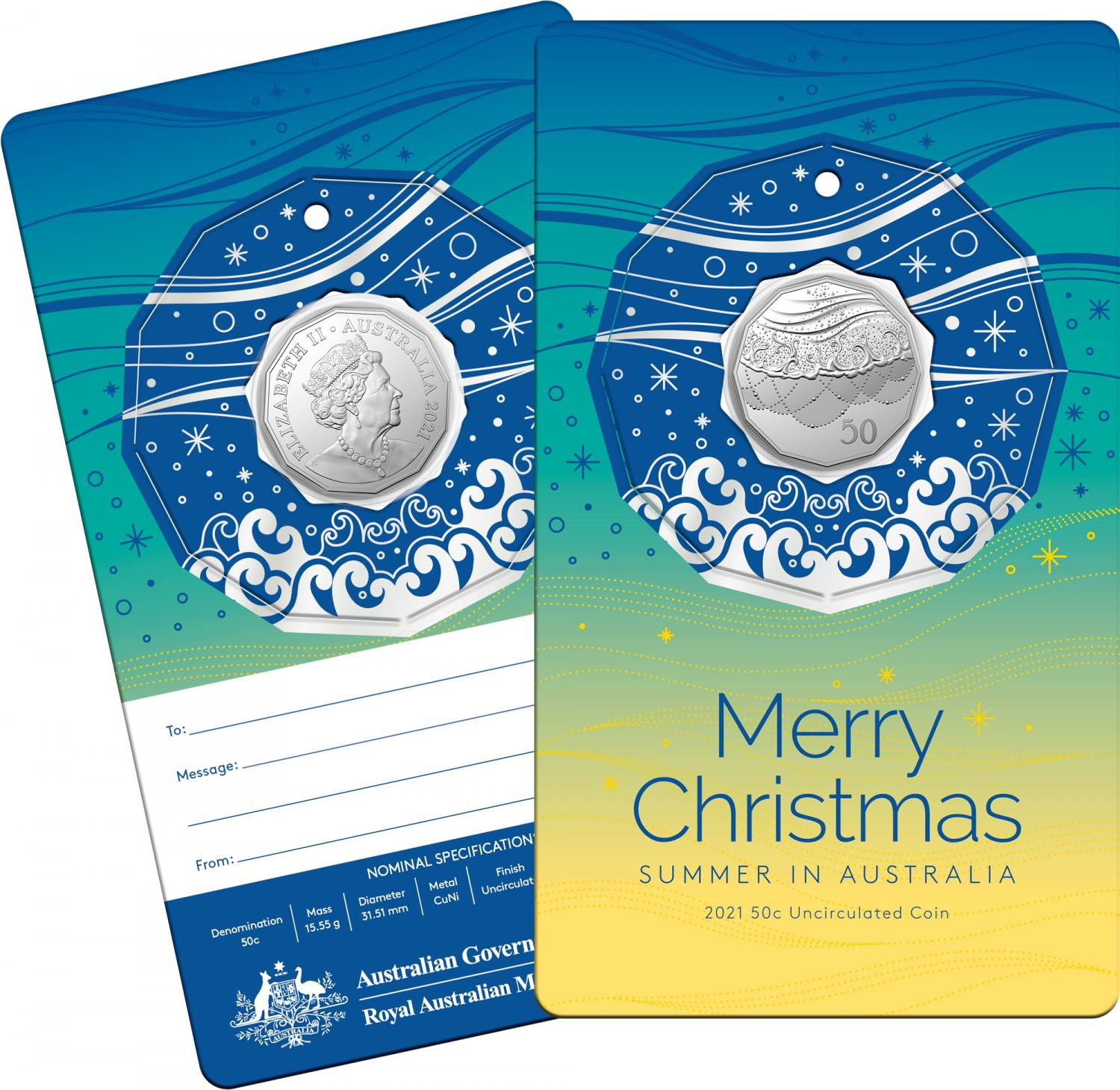 Thumbnail for 2021 .50¢ Christmas Decoration CuNi UNC Coin on Silver Card (Single card)