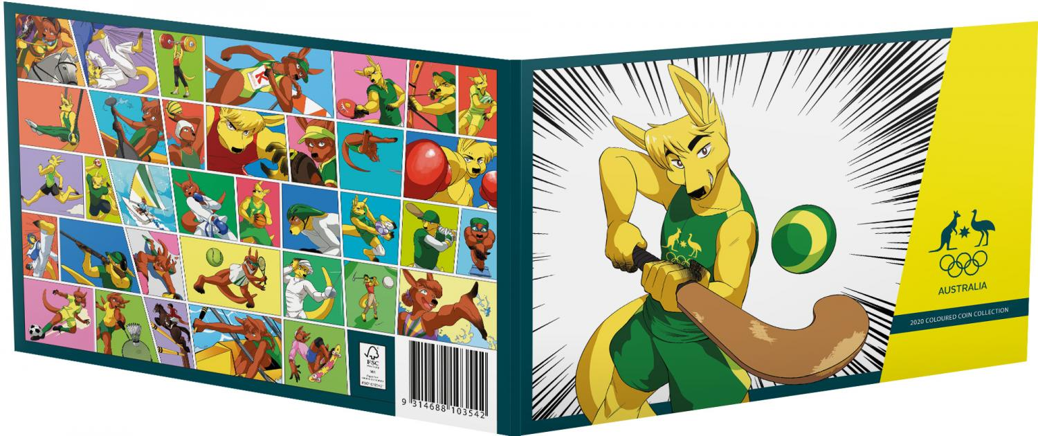 Thumbnail for 2020 Australian Olympic Team $2 Collection Set of 5 $2 coloured UNC Coins in Hockey Playing Kangaroo Folder