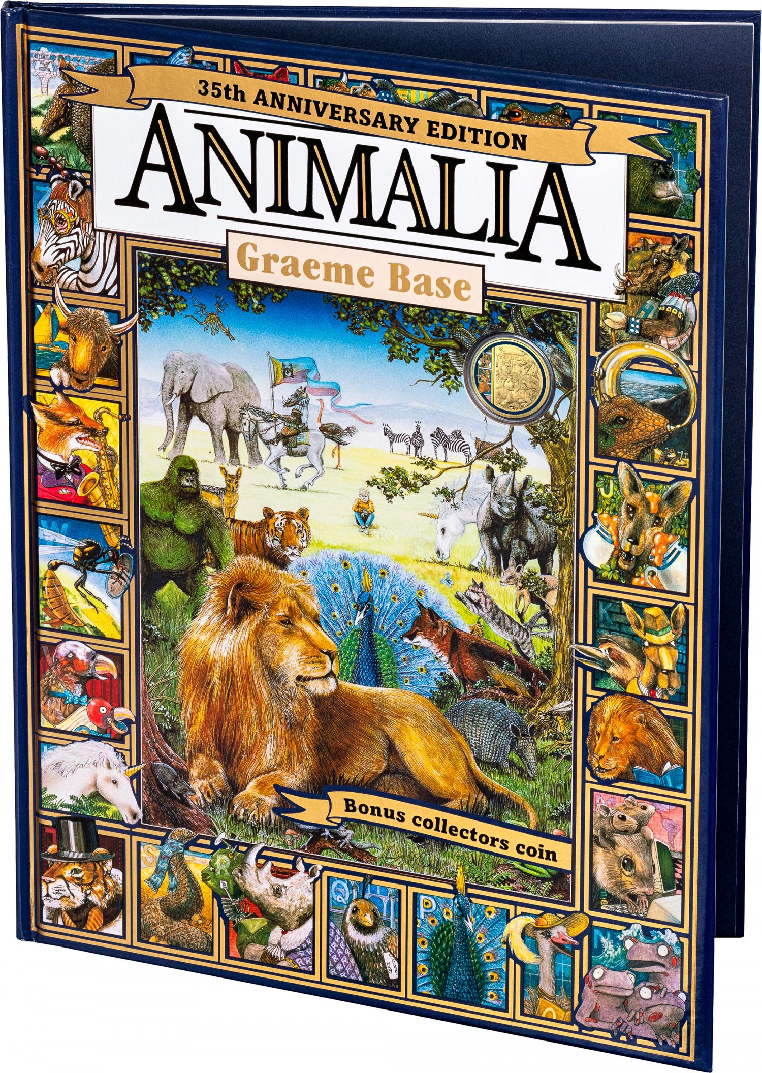 Thumbnail for 2021 20¢ 35th Anniversary of Animalia CuNi Gold Plated Colour Printed UNC Coin in a Deluxe Hardcover Anniversary Edition of Animalia