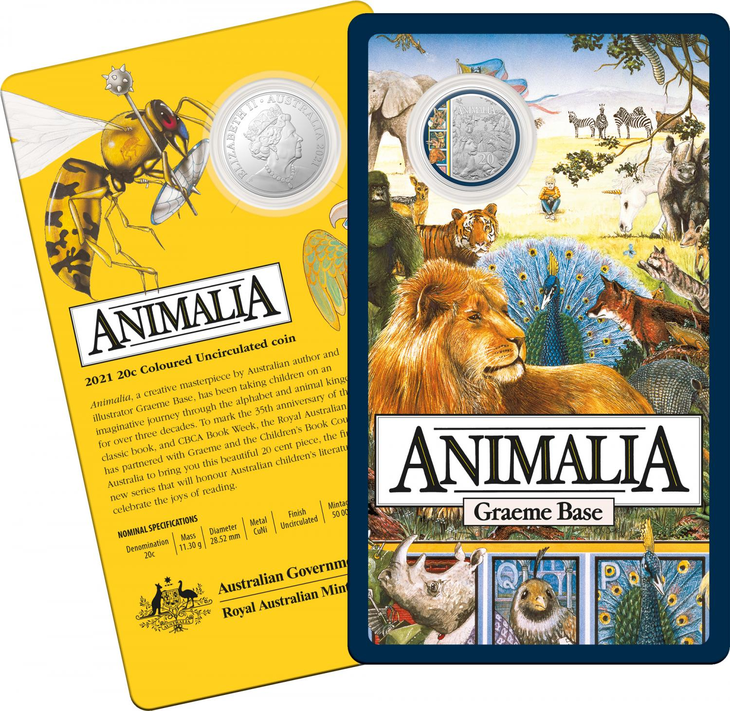 Thumbnail for 2021 .20¢ 35th Anniversary of Animalia 20cent CuNi Coloured UNC Coin on Card