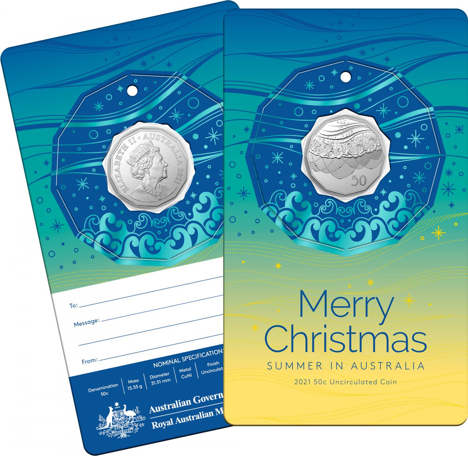 Thumbnail for 2021 .50¢ Christmas Decoration CuNI UNC Coin with TEAL CARD (Single coin)
