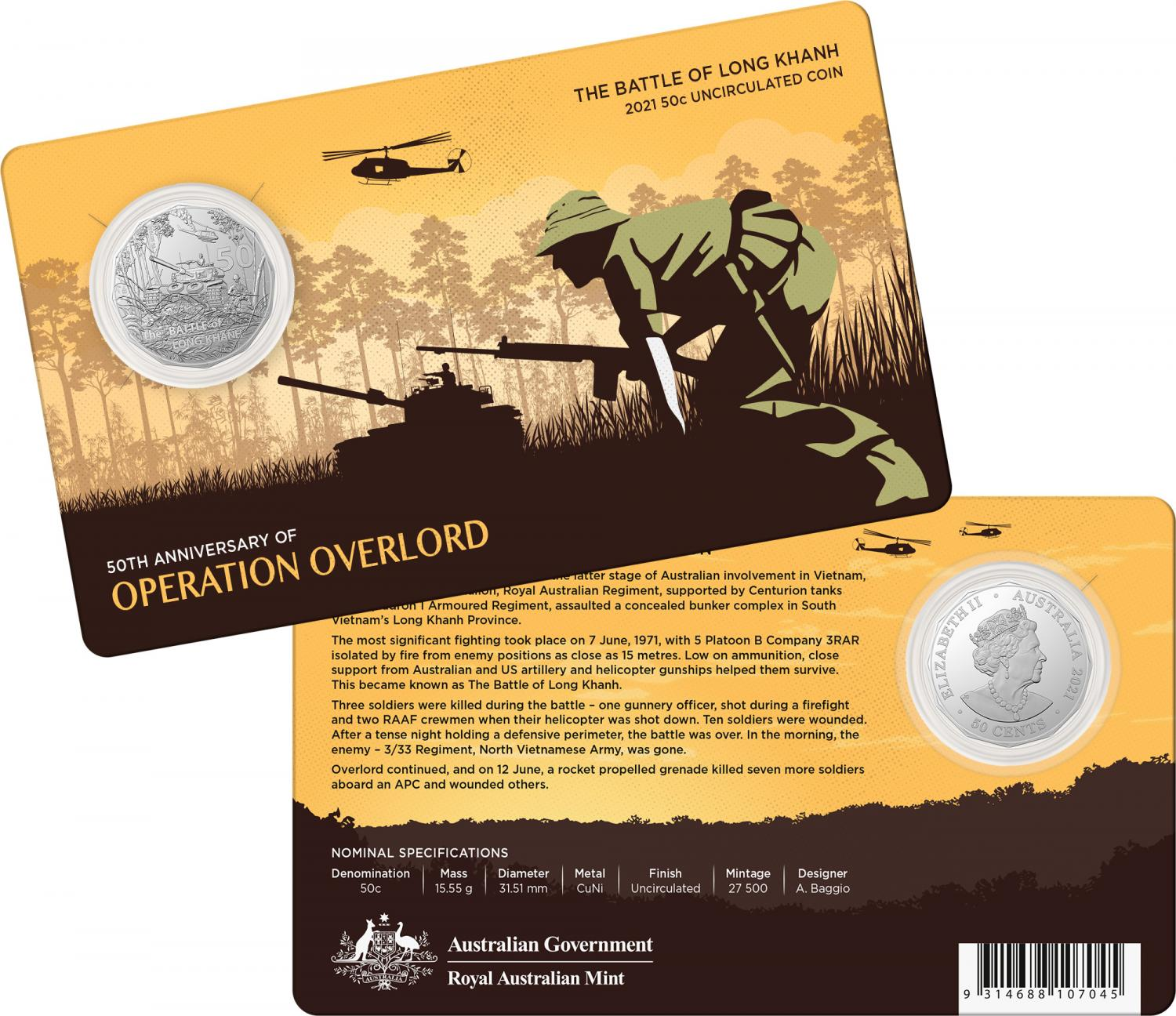 Thumbnail for 2021 .50¢ 50th Anniversary of the Battle of Long Khanh CuNi Coin on Card