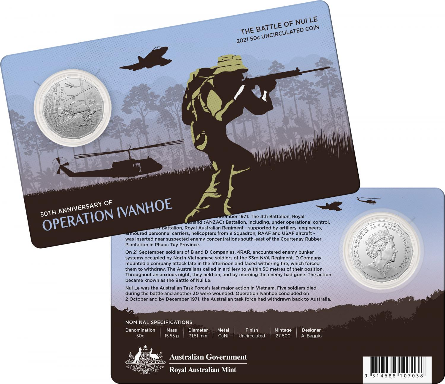 Thumbnail for 2021 .50¢ 50th Anniversary of the Battle of Nui Le Coin on Card
