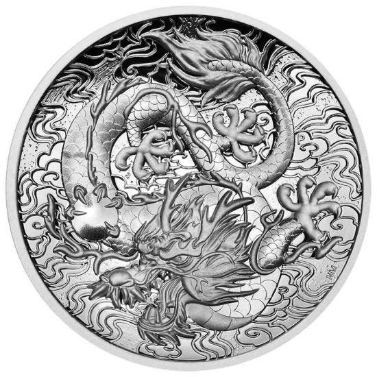 Thumbnail for 2021 Chinese Myths and Legends Dragon 2oz Silver Proof High Relief Coin
