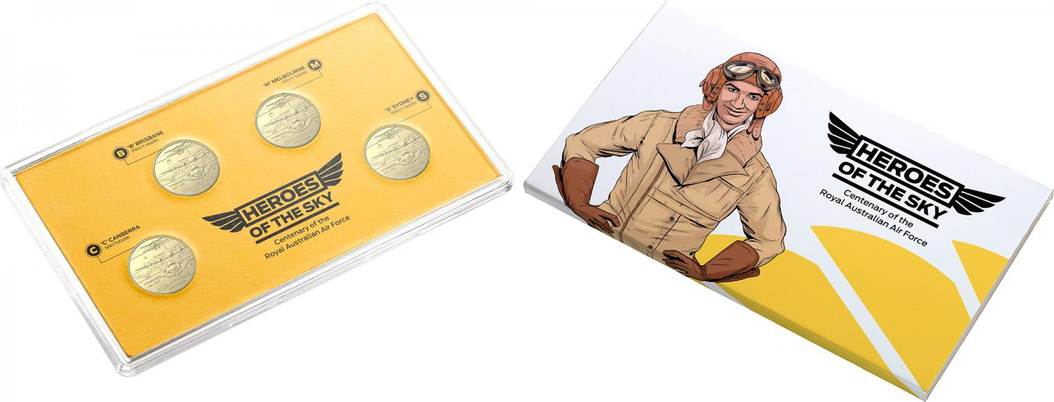 Thumbnail for 2021 Heroes of the Sky Four Coin  $1 AlBr UNC Mintmark & Privymark Set