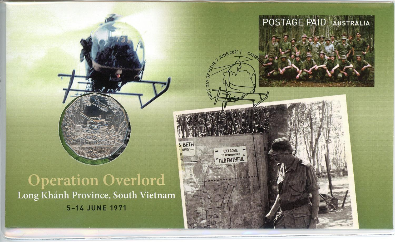 Thumbnail for 2021 Issue 25 Operation Overload Long Khanh Province, SOuth Vietnam 5 - 14 June 1971 RAM 50¢ PNC