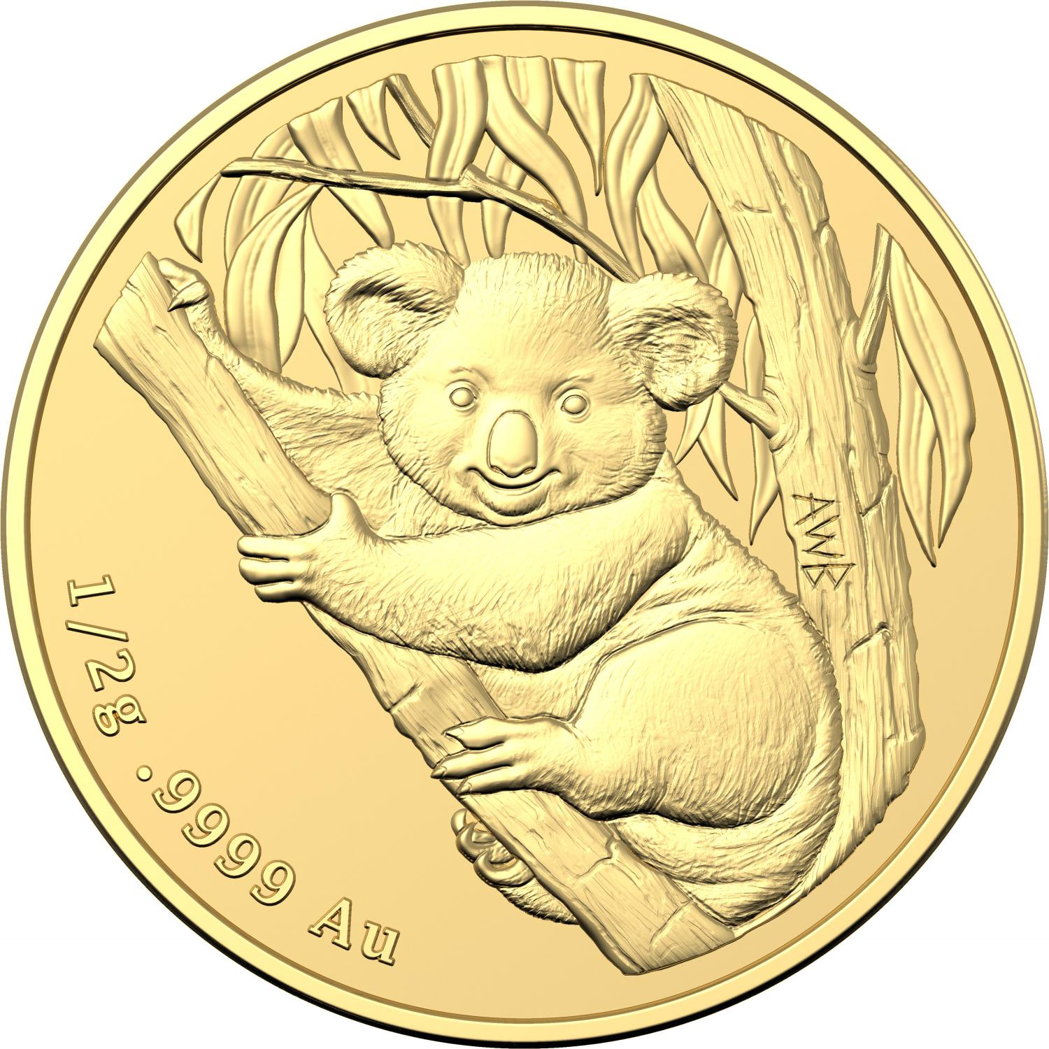 Thumbnail for 2021 $2 Koala Mini Half gm Frosted UNC Gold Coin - Mintage 5000