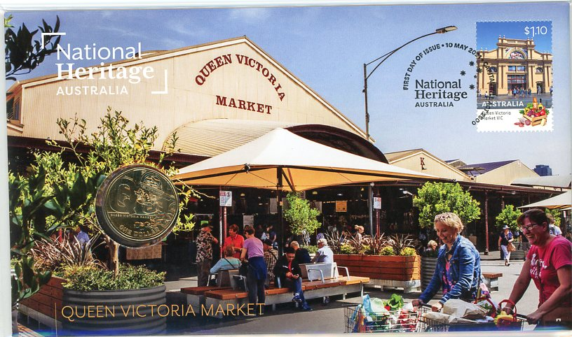 Thumbnail for 2021 Issue 22 National Heritage Australia - Queen Victoria Market  PNC with RAM $1 'Q'  - Limited to 6,500