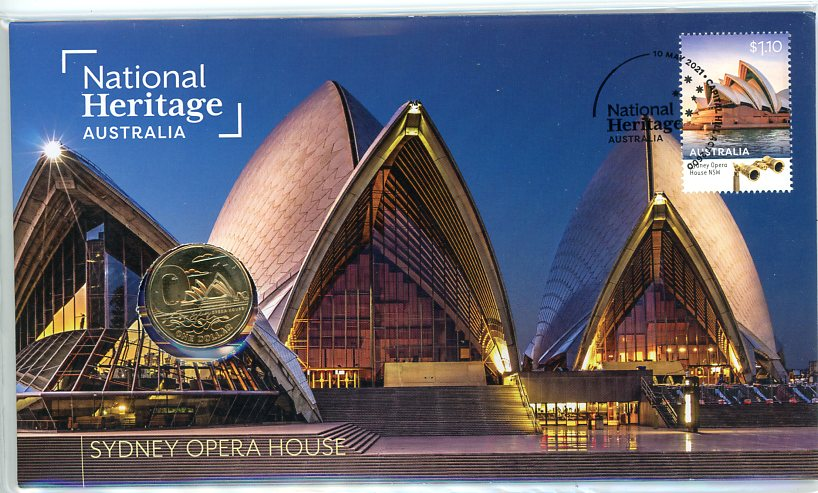 Thumbnail for 2021 Issue 21 National Heritage Australia Sydney Opera House PNC with RAM $1 'O' for Opera House- limited to 6,500