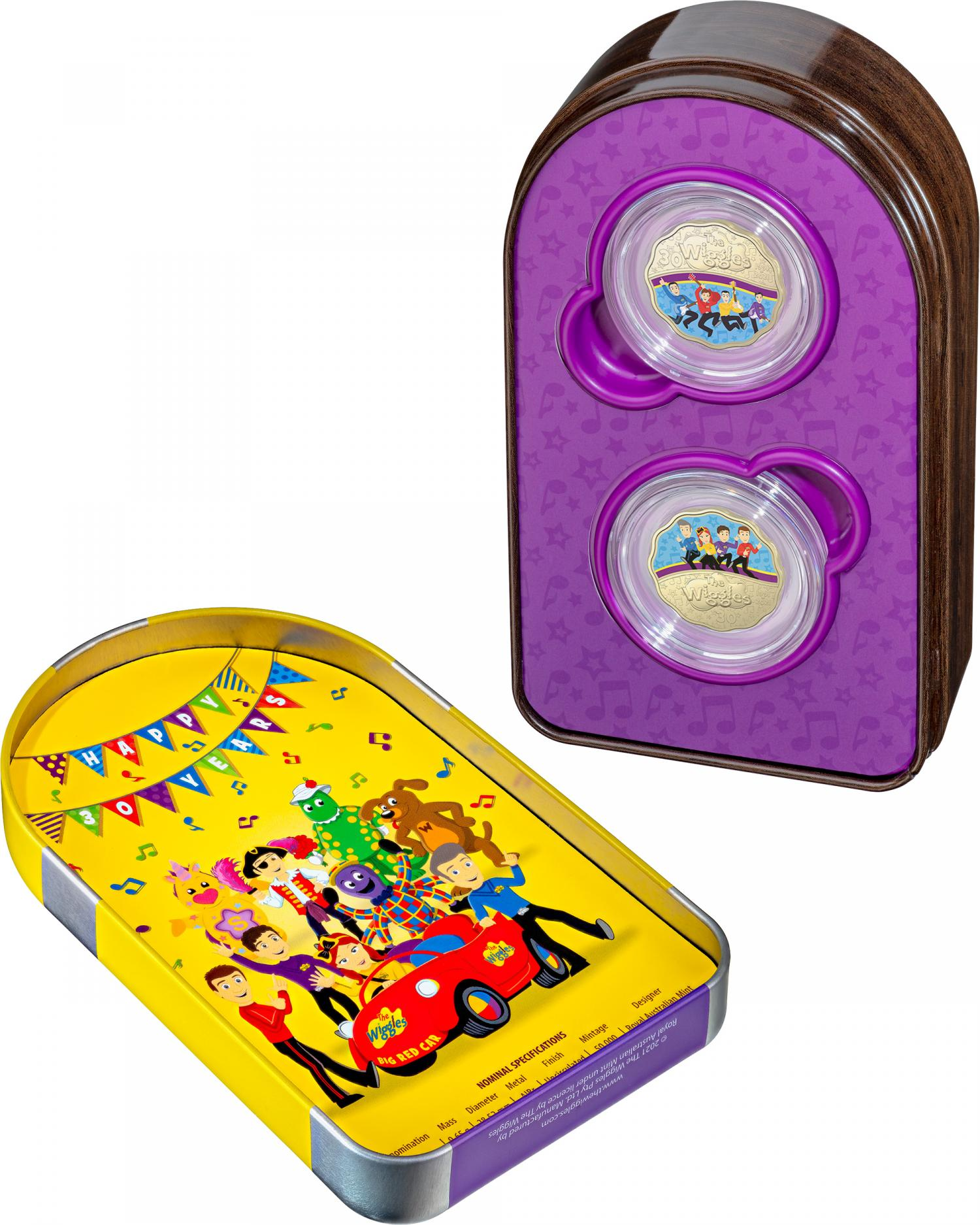 Thumbnail for 2021 30¢ 30 Years of Wiggles Two coin Set AlBr Scalloped Coloured Coin