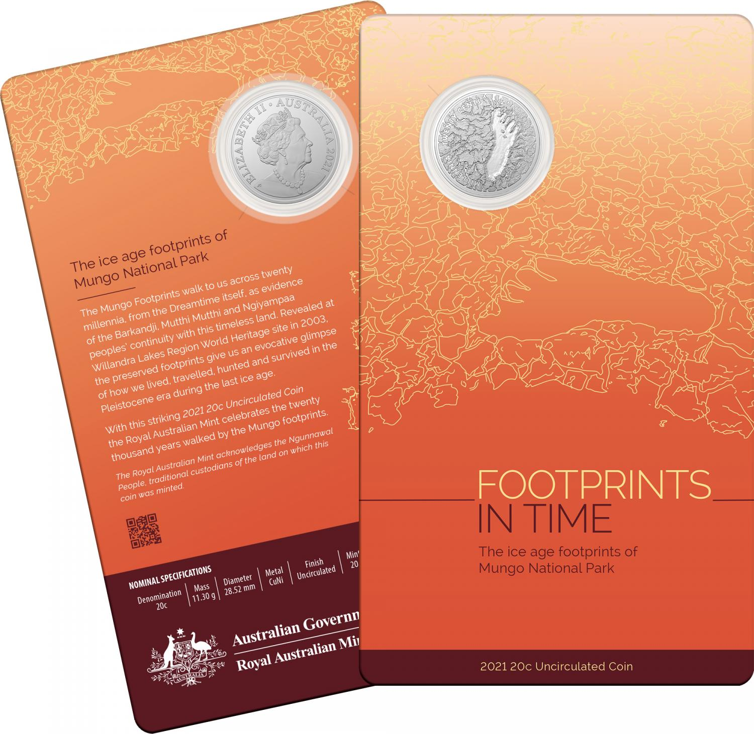 Thumbnail for 2021 Mungo Footprint 20 Cent UNC Coin
