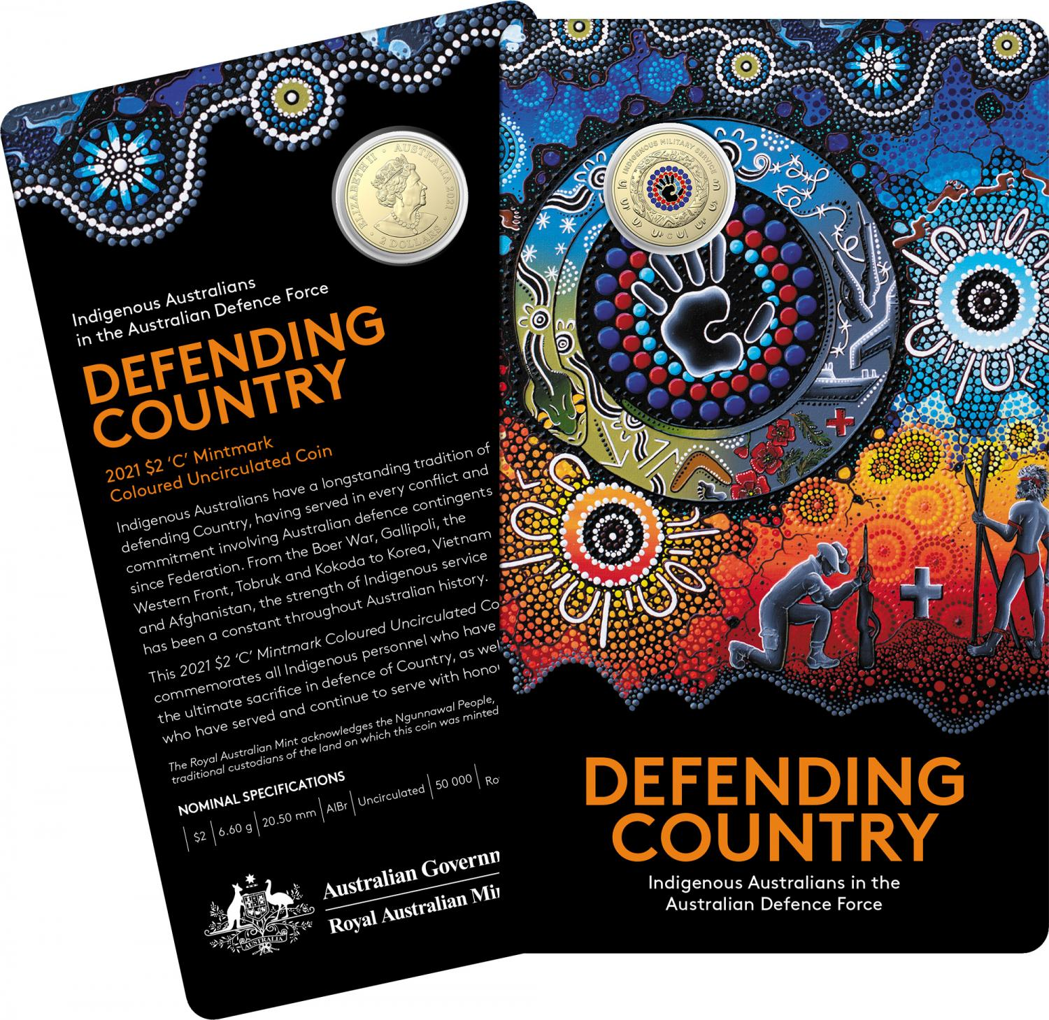 Thumbnail for 2021 $2 Indigenous Services - Defending Country  AlBr Colour 'C' Mintmark UNC Coin on card