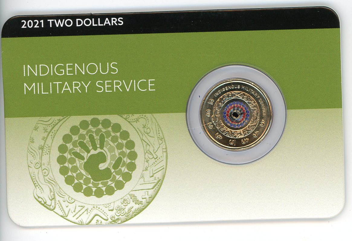Thumbnail for 2021 $2 Indigeneous Military Service Coloured Circulating Coin on DCPL Card (No mintmark)