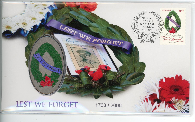 Thumbnail for 2021 Lest We Forget Medallic Stamp & Medallion Aust Post Cover