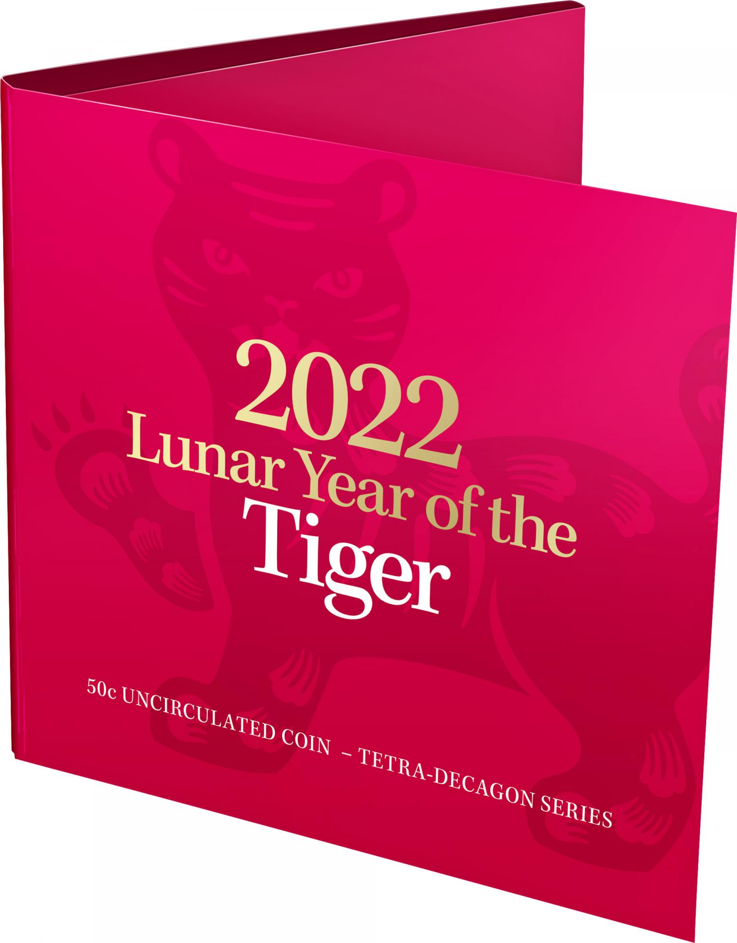Thumbnail for 2022 .50¢ Lunar Year of the Tiger Tetra-Decagon 14 Sided UNC Coin