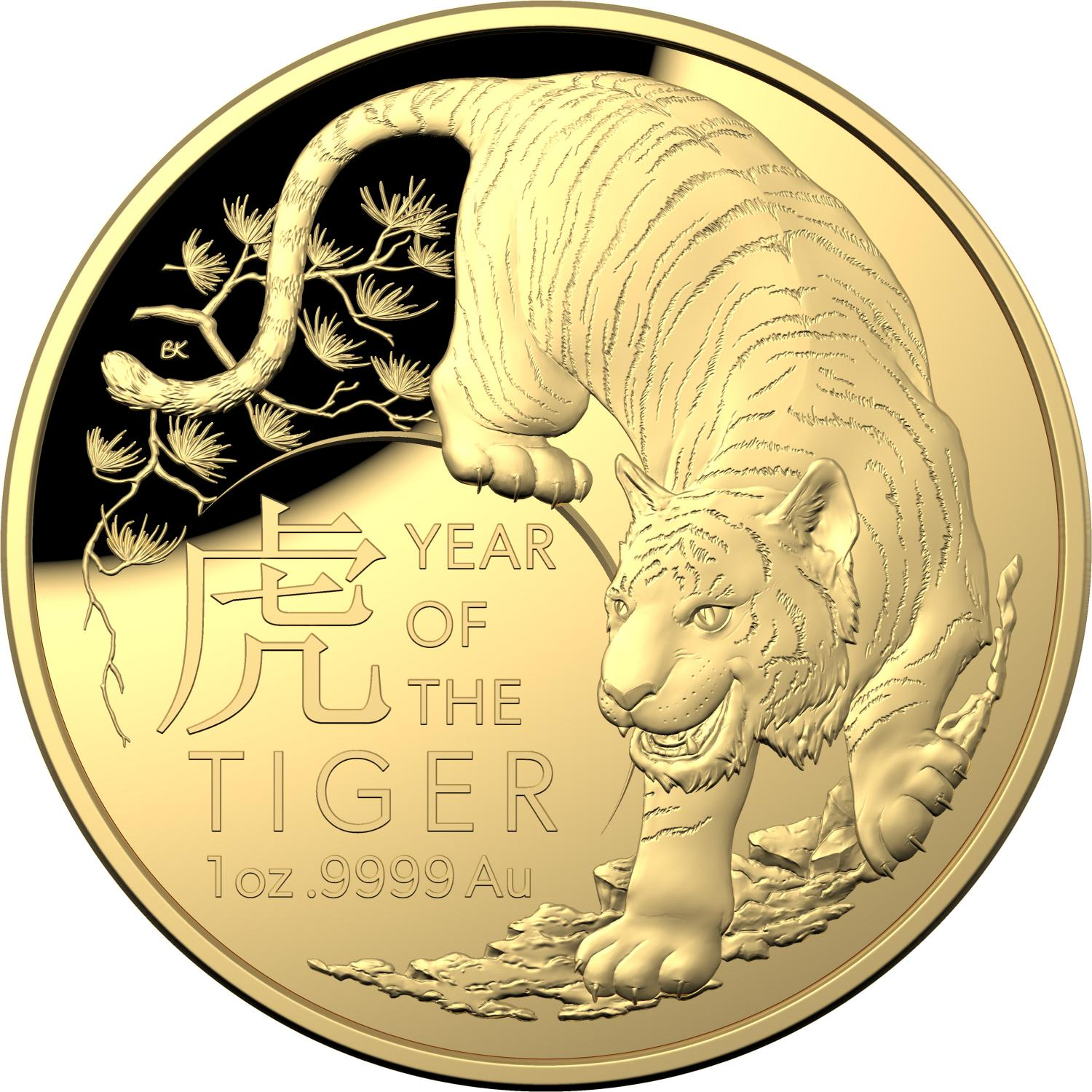 Thumbnail for 2022 $100 Gold Domed Year of Tiger Proof Coin