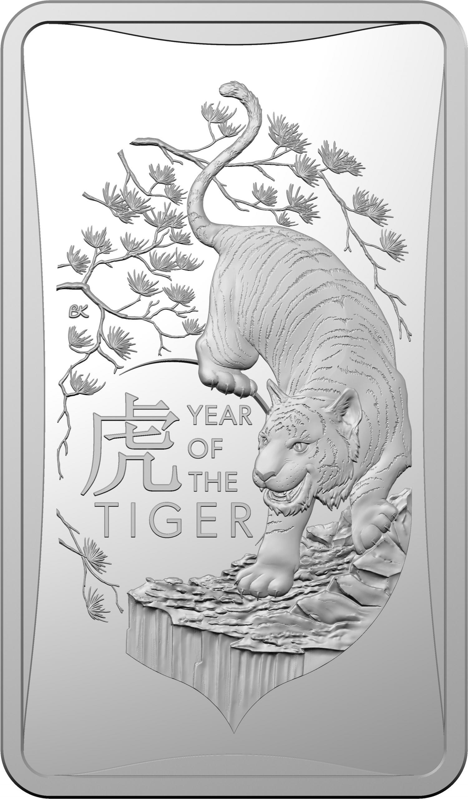 Thumbnail for 2022 $1 FRUNC Half oz INGOT Year of the Tiger Ag  Coin