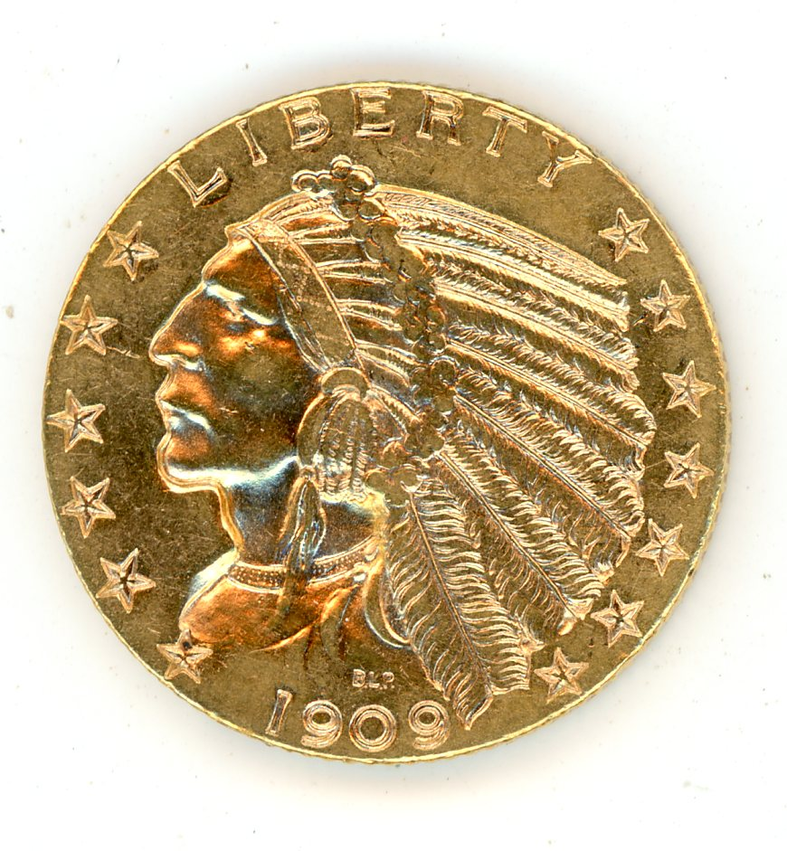 Thumbnail for 1909D United States Indian Head Gold Five Dollar
