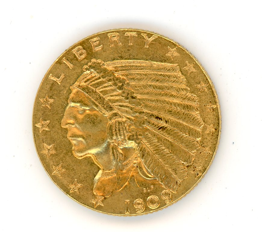 Thumbnail for 1909 USA Indian Head Gold Two and a Half Dollar