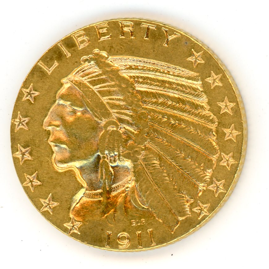 Thumbnail for 1911 United States Indian Head Gold Five Dollar A