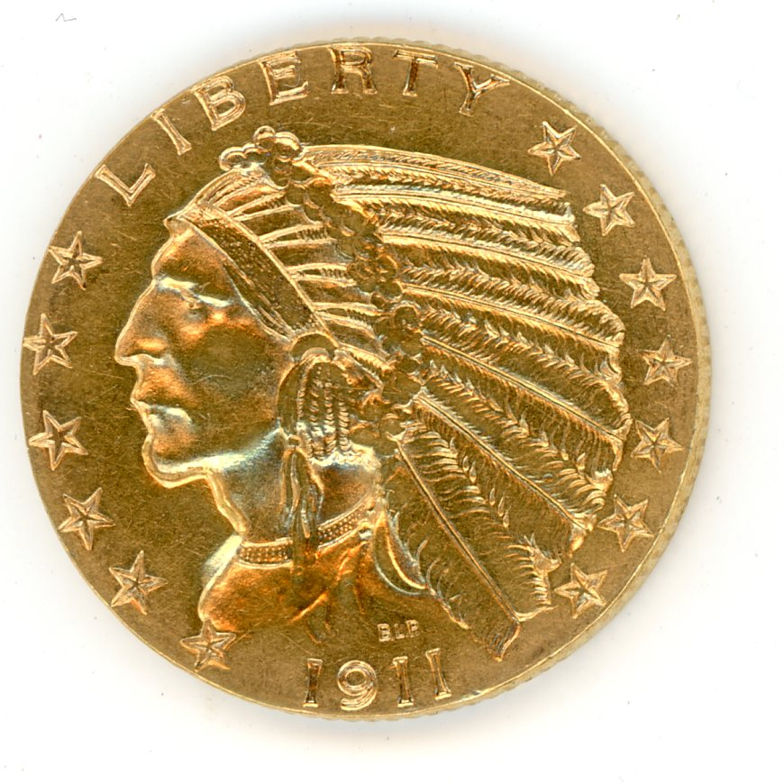 Thumbnail for 1911 United States Indian Head Gold Five Dollar B