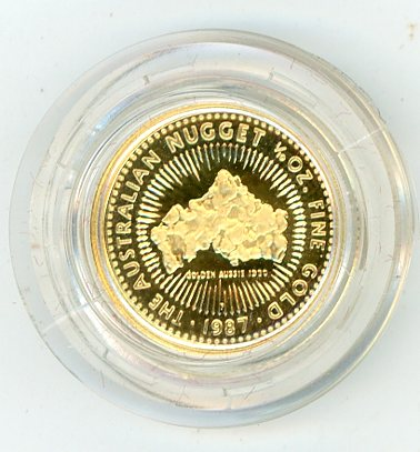 Thumbnail for 1987 One Tenth oz Australian Nugget - Golden Aussie 1980