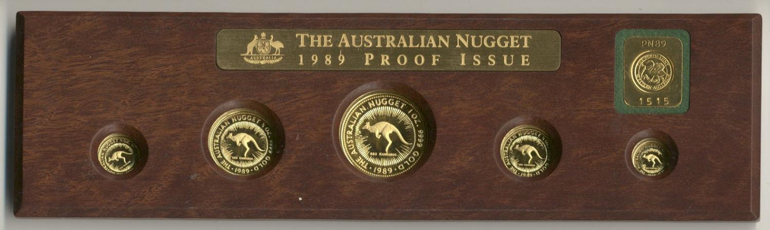 Thumbnail for 1989 Australian Gold Nugget Proof Coin Set with Gold Ingot