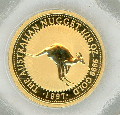 Thumbnail for 1997 One Tenth oz Australian Nugget Uncirculated Coin in Capsule