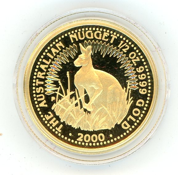 Thumbnail for 2000 Half oz Gold Proof Kangaroo in Capsule