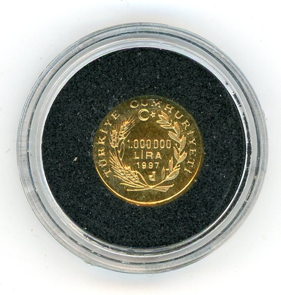 Thumbnail for 1997 Turkey 1,000,000 Lire 1.224gm - Piri Reis 1470-1554