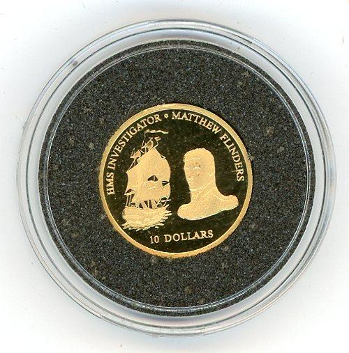 Thumbnail for 2002 Fiji Ten Dollars 1.224gm - HMS Investigator Matthew Flinders