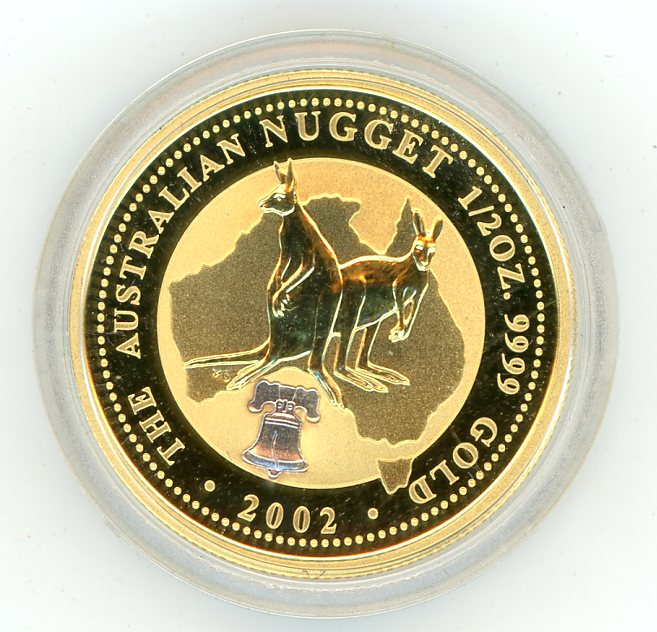 Thumbnail for 2002 Half oz Australian Nugget with Liberty Bell Privy in Capsule