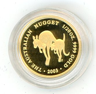 Thumbnail for 2003 Australian One Twentieth oz Kangaroo in Capsule