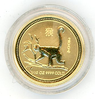 Thumbnail for 2004 Australian One Tenth oz Gold - Year of the Monkey