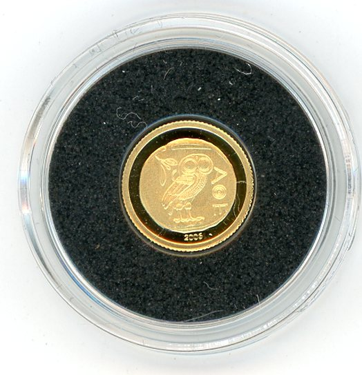Thumbnail for 2006 Congo 0.5 Gram .999 Gold 10 Francs - Owl of Athens