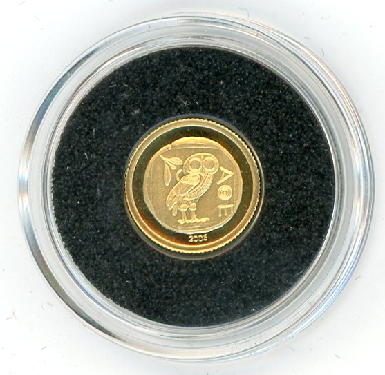 Thumbnail for 2006 Congo 0.5 Gram .999 10 Francs - Owl of Athens