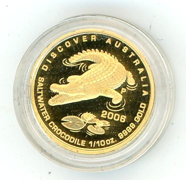 Thumbnail for 2006 One Tenth oz Crocodile Proof In Capsule - Discover Australia